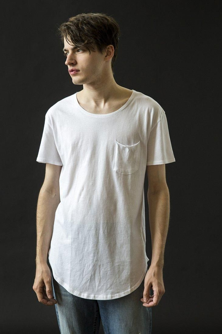 0921888a UO Scoop Neck Curved Hem Tee | #UOMens | Urban style outfits, Long ...