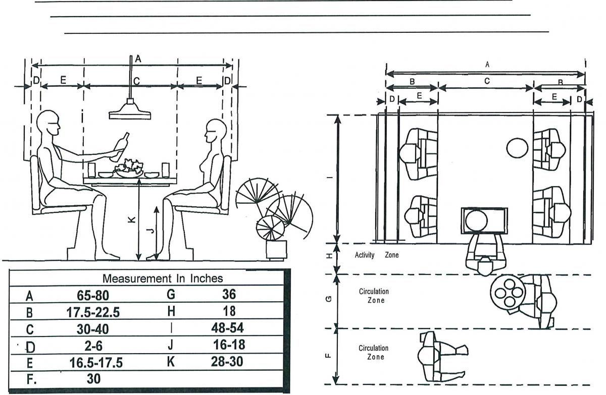 MEASUREMENTS FOR A Breakfast BOOTH Floor Plans Booths Tables - Breakfast nook dimensions