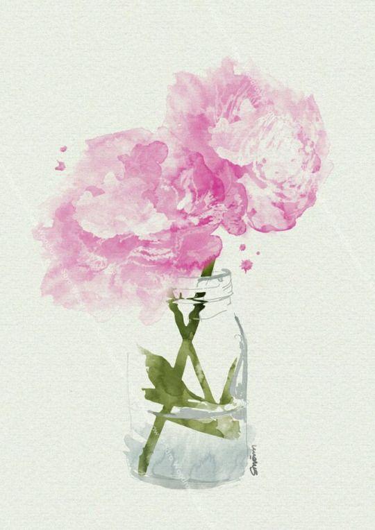 Rosa Blumen Gezeichnet