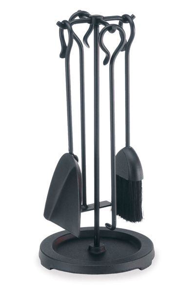 """Keep the home fires burning"" with our unique and stylish Compact wood  stove tool set from Pilgrim. This simple, classic design blends with any  décor and ... - Pilgrim 5 Piece Compact Matte Black Stove Tool Set Tools Sets"
