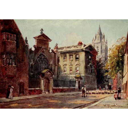 Cambridge 1907 Peterhouse from street Canvas Art - William Matthison (18 x 24)