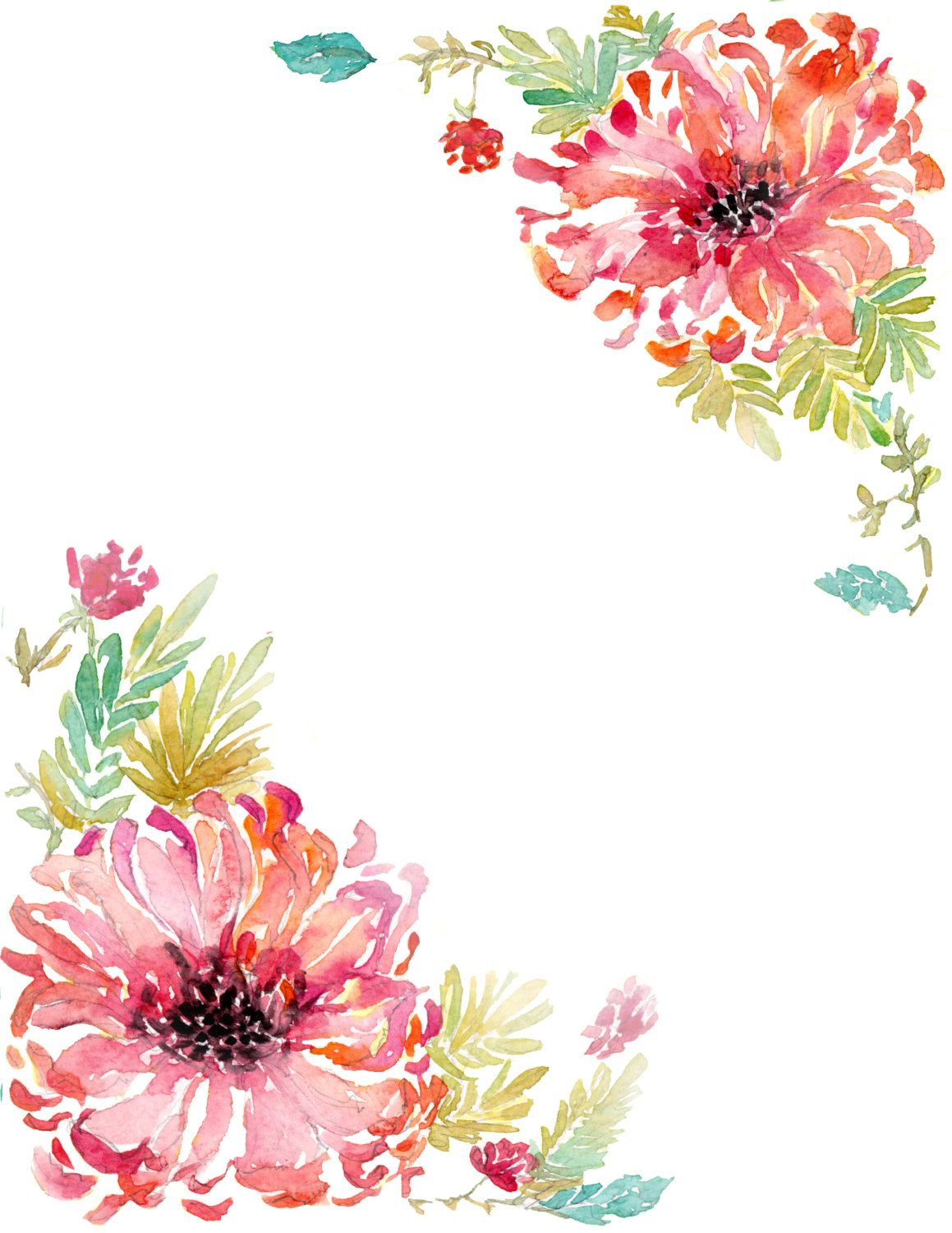 Downloadable watercolor dahlia border by WaternColour on Etsy Текстуры