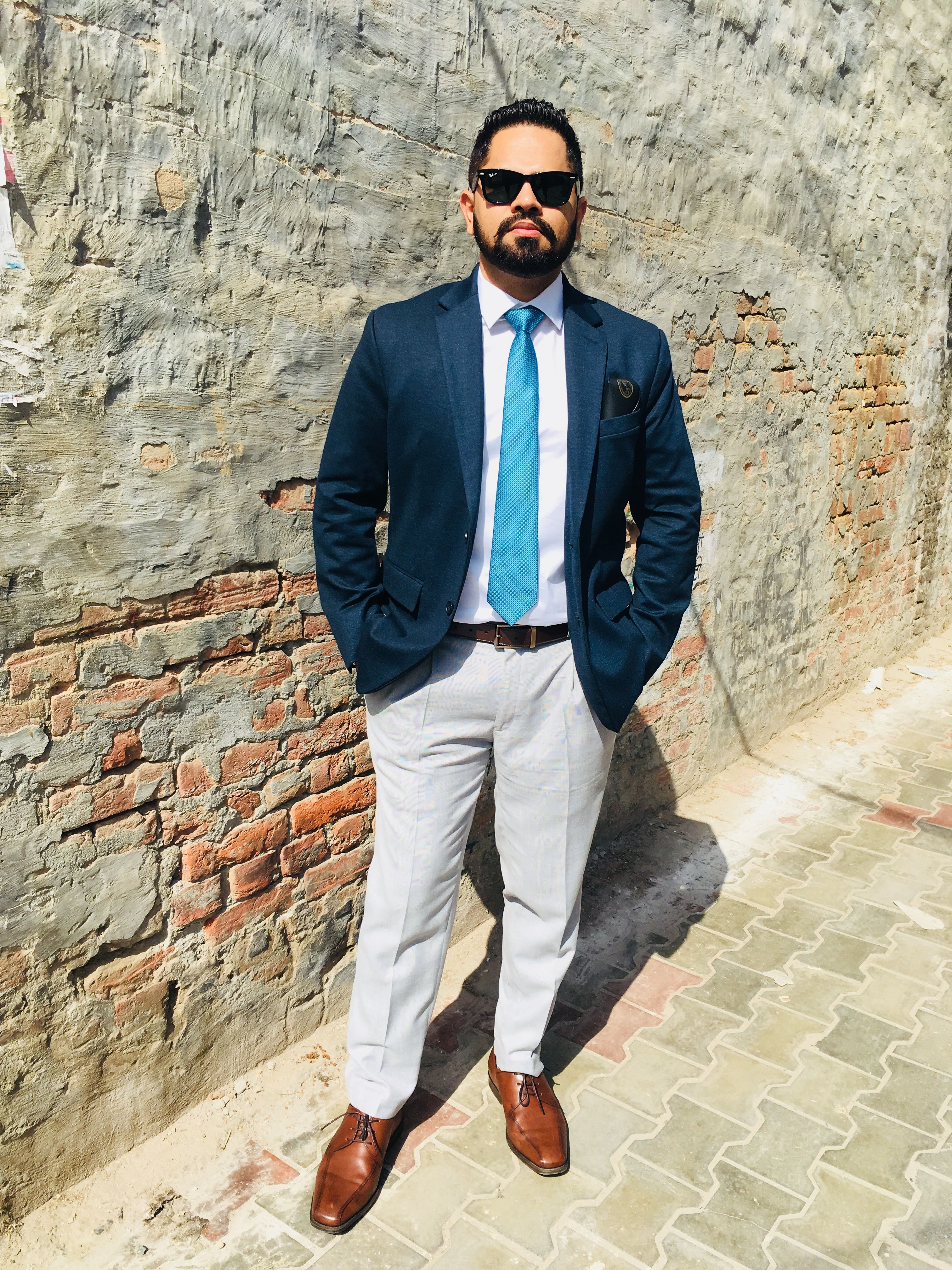 Navy Blazer with Light Gray Pant Outfit Mens Style | Grey