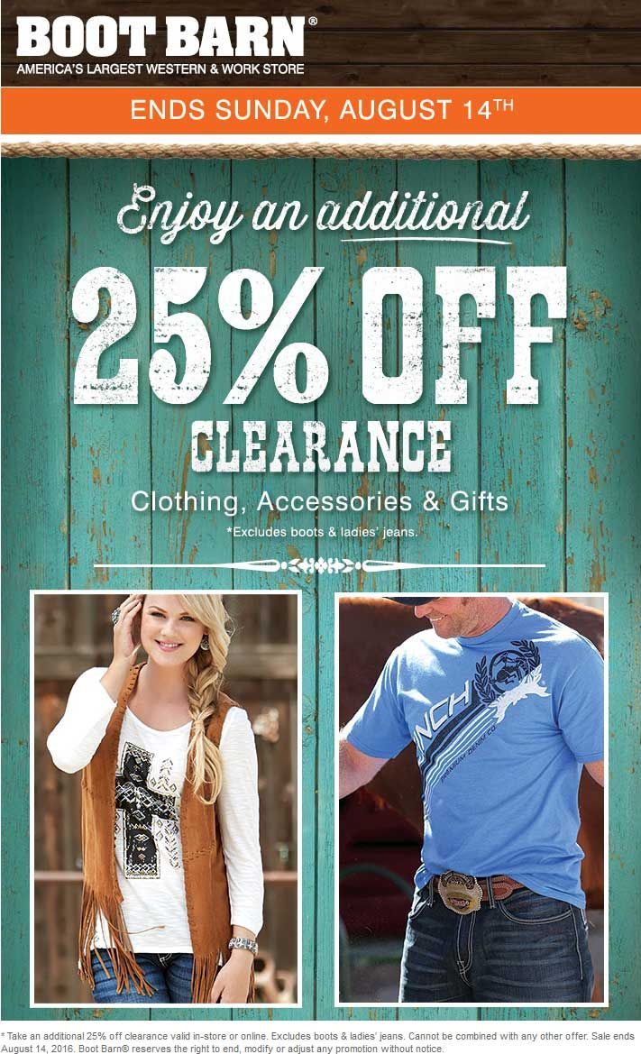 Pinned August 12th Extra 25 Off Clearance At Boot Barn Ditto Online Shopping Coupons Clearance Clothes Western Work