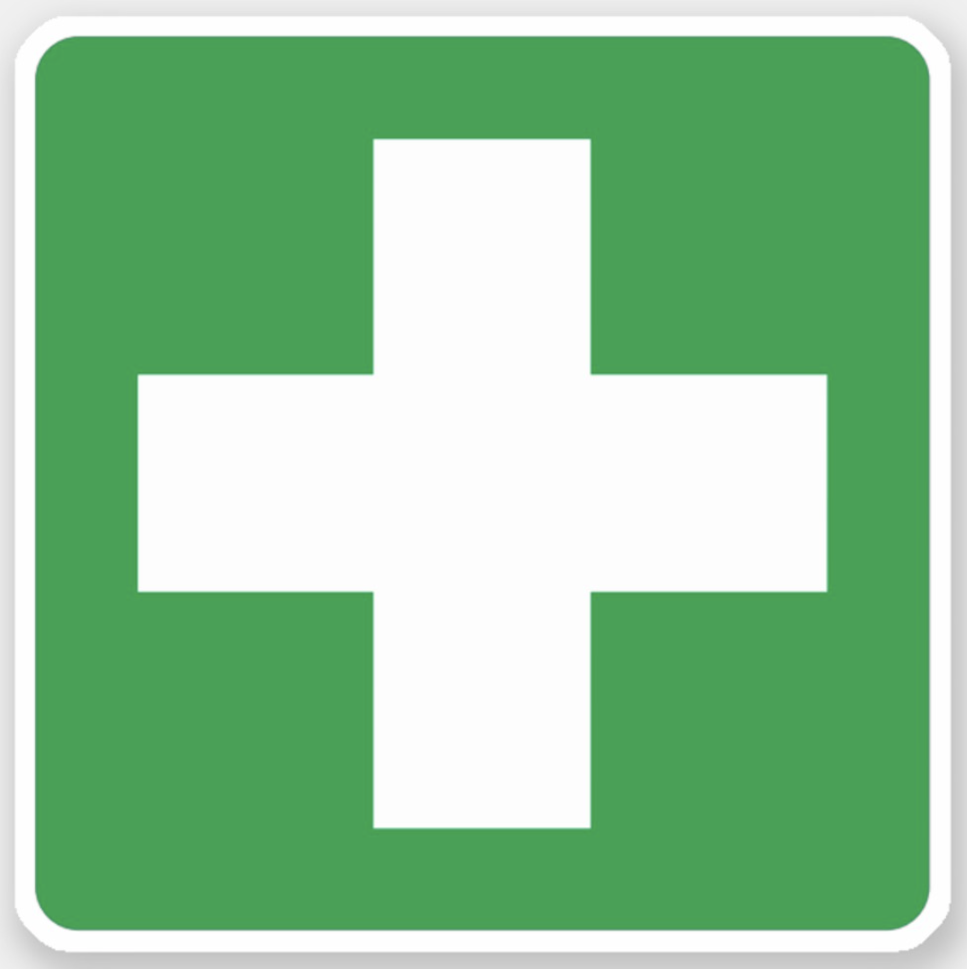 First Aid Symbol Stickers White Cross On Green Sticker Zazzle Com In 2020 Green Sticker White Crosses Symbols