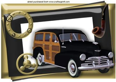 1948 WOODY VINTAGE CAR IN STEAMPUNK FRAME A4 on Craftsuprint - Add To Basket!