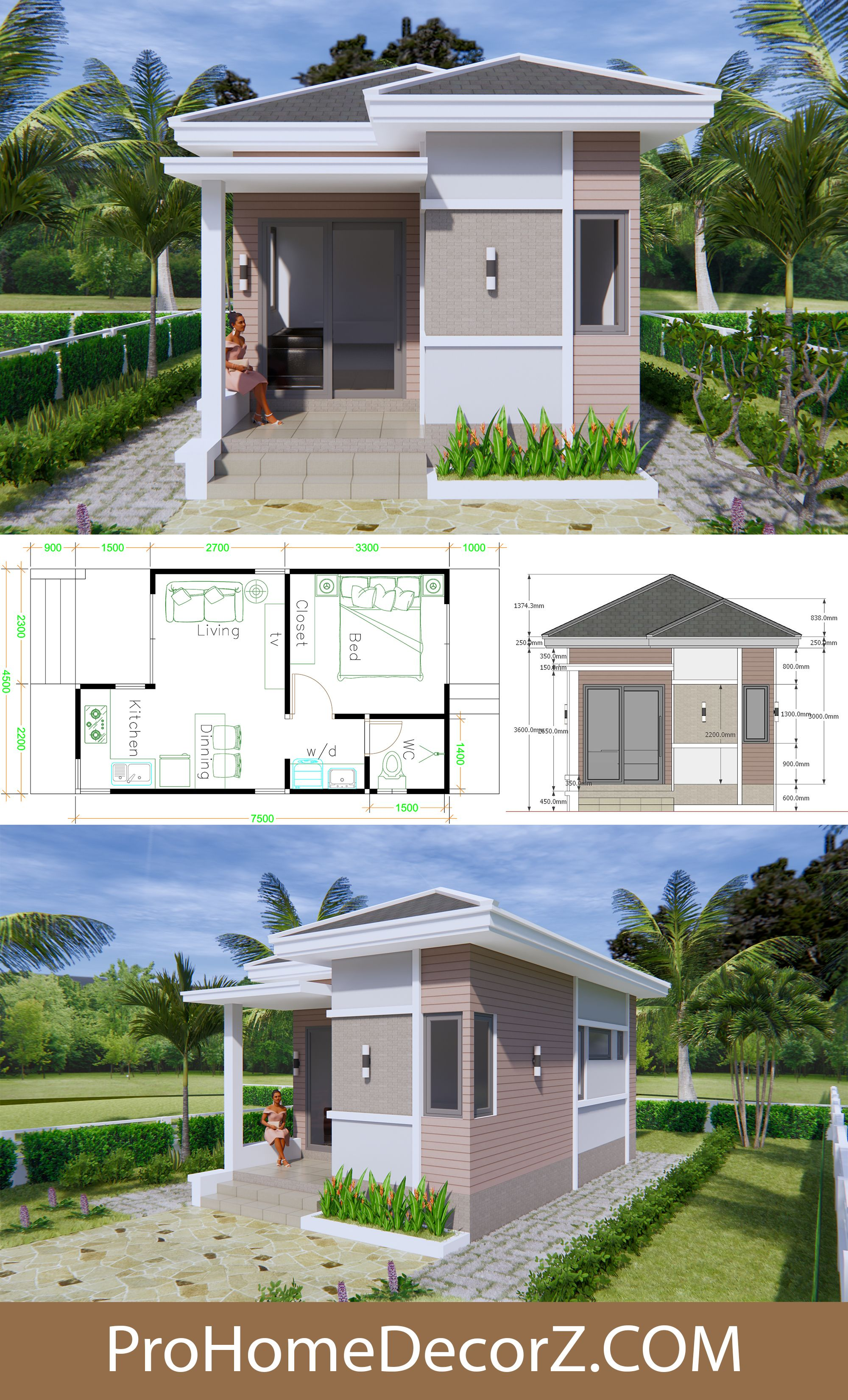 Small Family Home 4 5x7 5 With Hip Roof In 2020 Small Luxury Homes Luxury Homes Simple House Plans