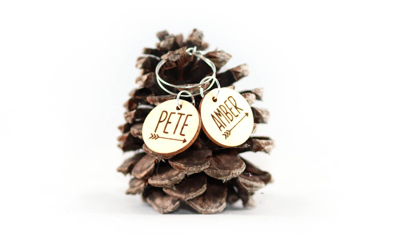 Mr. & Mrs. Wine Glass Charms, Wood slice charm, Rustic Wedding ...