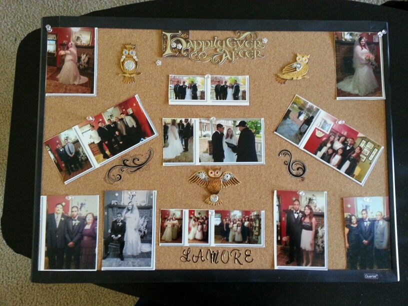 A cork board collage is Super cute and a cheap idea instead of paying tons  for