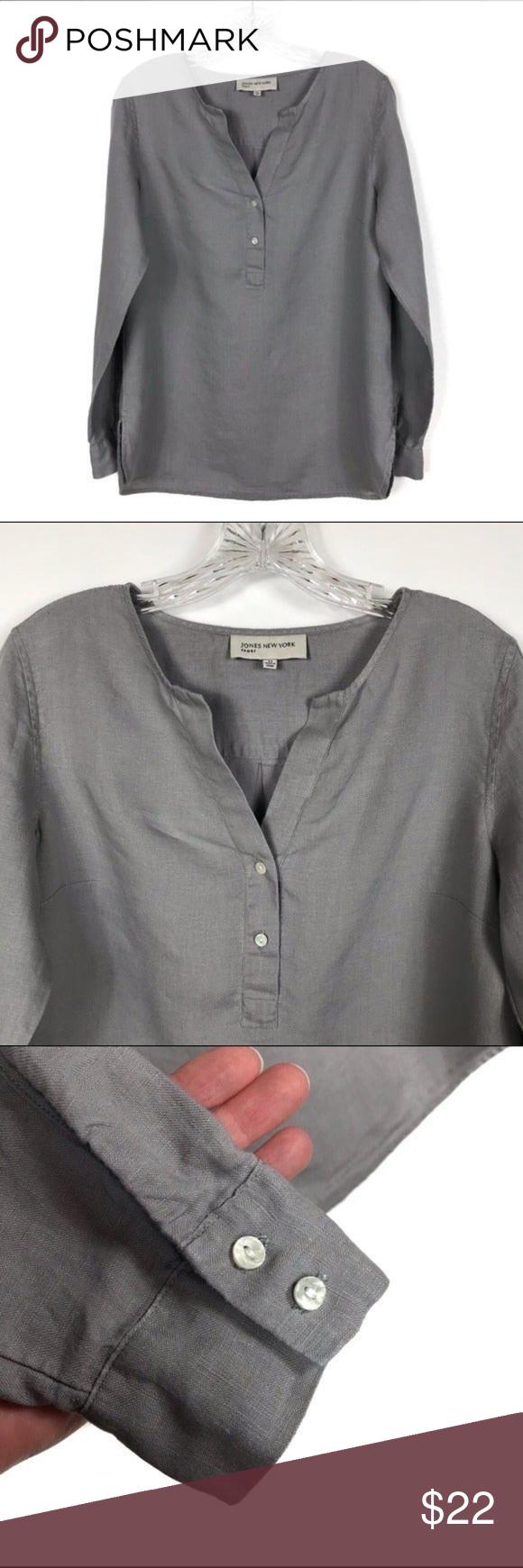 Jones New York Gray Linen Long Sleeve Top