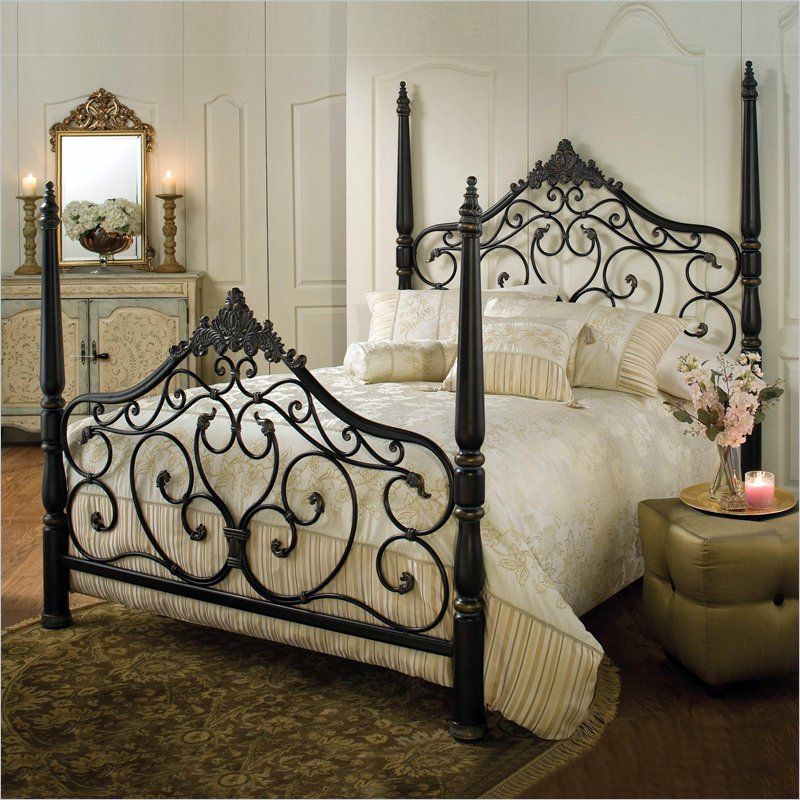 Hillsdale Parkwood Metal Poster Bed in Black Gold Finish | Hierro ...