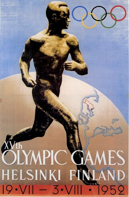 Olympic Games 1952 poster  As a means of kindling enthusiasm for the Olympic Games and a reminder of their imminence the poster has its own special mission. The »Paavo Nurmi» poster designed for the 1940 Games by the Finnish artist Ilmari Sysimetsä needed only minor alterations to be suitable again. A new competition in 1950 brought forth 277 designs, not one of which, however, could measure with the »Nurmi» poster.
