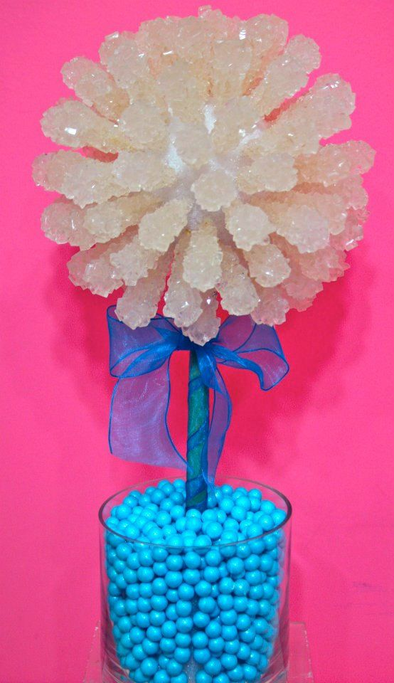 Baby shower boy blue rock candy centerpiece by