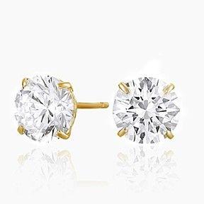 10k Yellow Gold Cubic Zirconia Cz Stud Earrings 2 Cttw By Jewelryhub On Opensky Stud Earrings White Gold