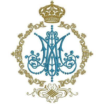 ESCUDO MARIANO 20 CM | Bordado | Bordados de oro, Monograma, Ornamentos  liturgicos
