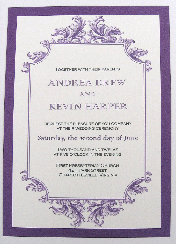 Purple Wedding Invitation With Baroque Motif - Sample Set. $4.50 ...