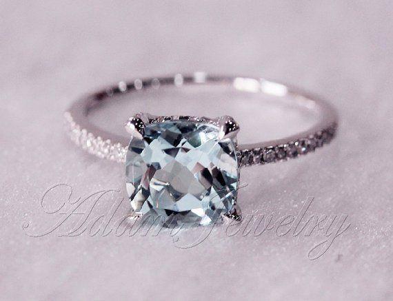 Cushion Cut Aquamarine Engagement Rings Wedding Engagement Rings