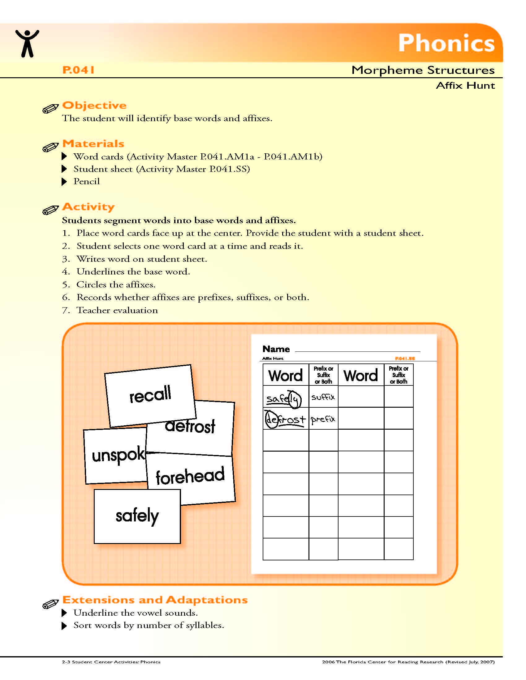The Student Will Identify Base Words And Affixes