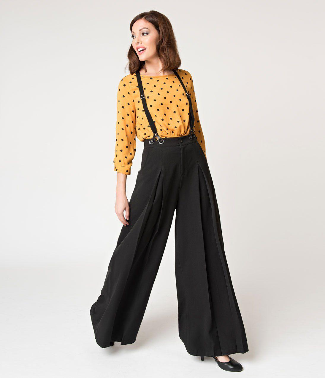 92fd564914d Voodoo Vixen Vintage Style Black Wide Leg Shelley Suspender Pants – Unique  Vintage