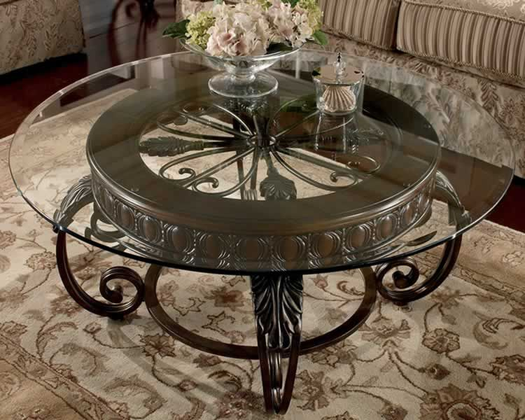 Furniture Round Glass Top Table No Frame Dark Coated Iron Base And Metal Coffee Tables