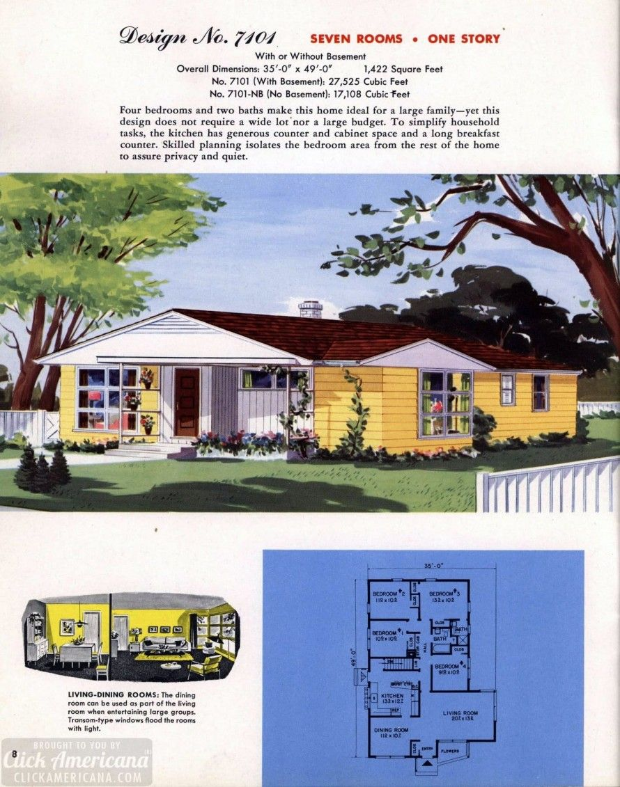 130 Vintage 50s House Plans Used To Build Millions Of Mid Century Homes We Still Live In Today Mid Century House House Plans Mid Century Modern House Plans