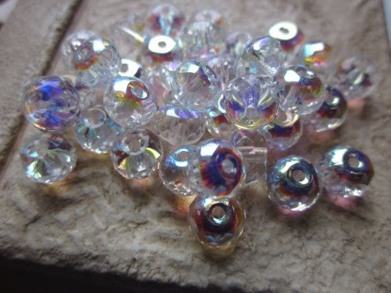 Czech Glass Beads Rondelles Faceted by gypsybeadpeddler on Etsy