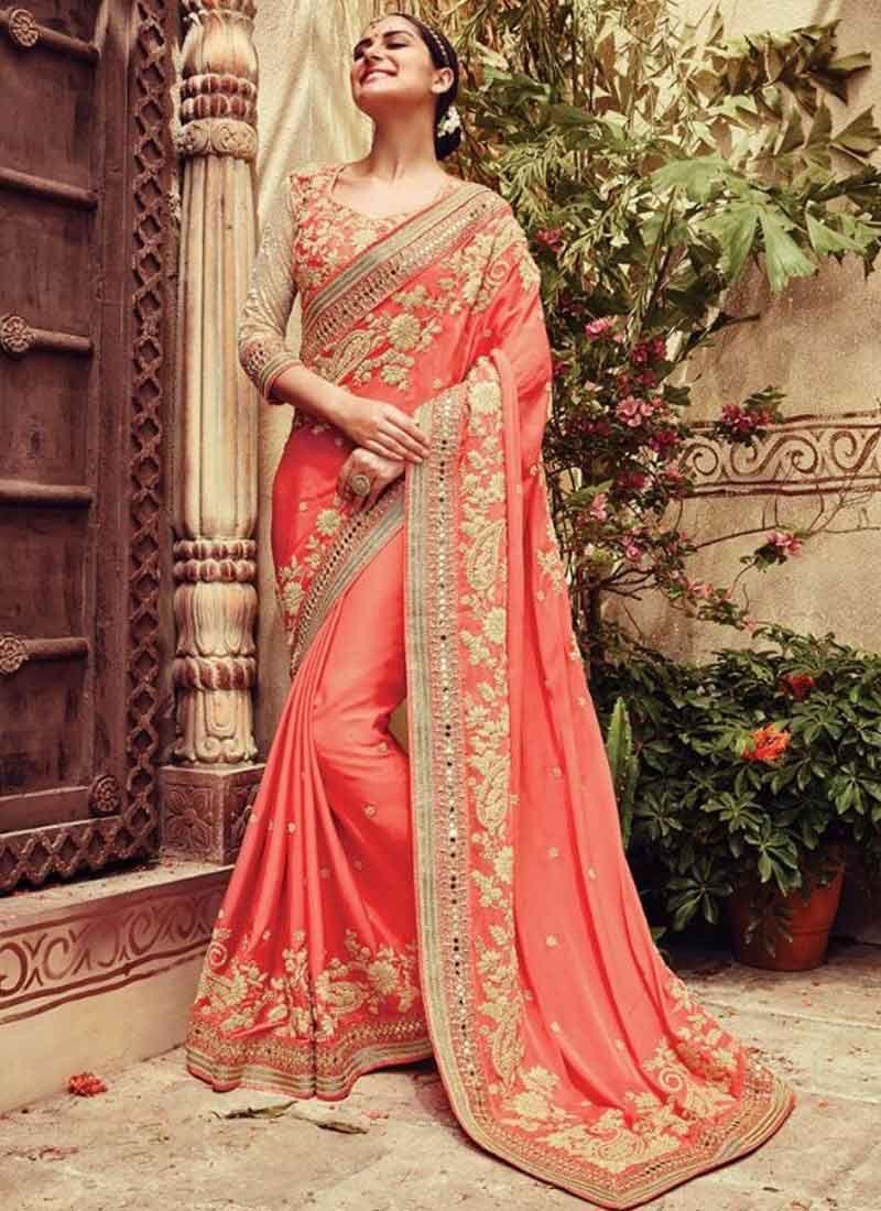 e09a779492 Tomato Red Embroidery Mirror Work Silk Wedding Sarees | A | Saree ...