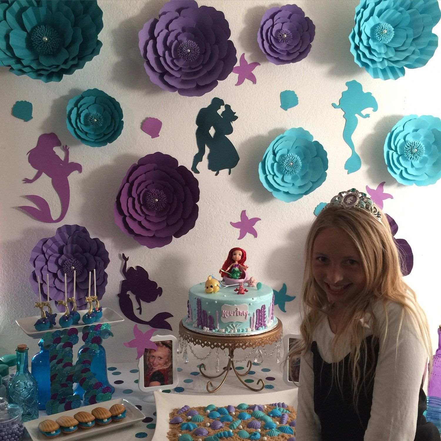 50Th Party Little Mermaid Ariel Birthday Large Paper Flowers Backdrop Flower Wall Photo