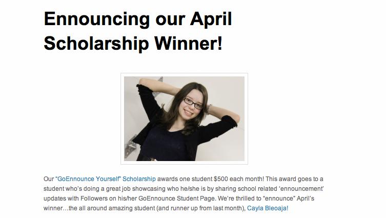 "Pin on ""Go Ennounce Yourself"" Scholarship Awarded"