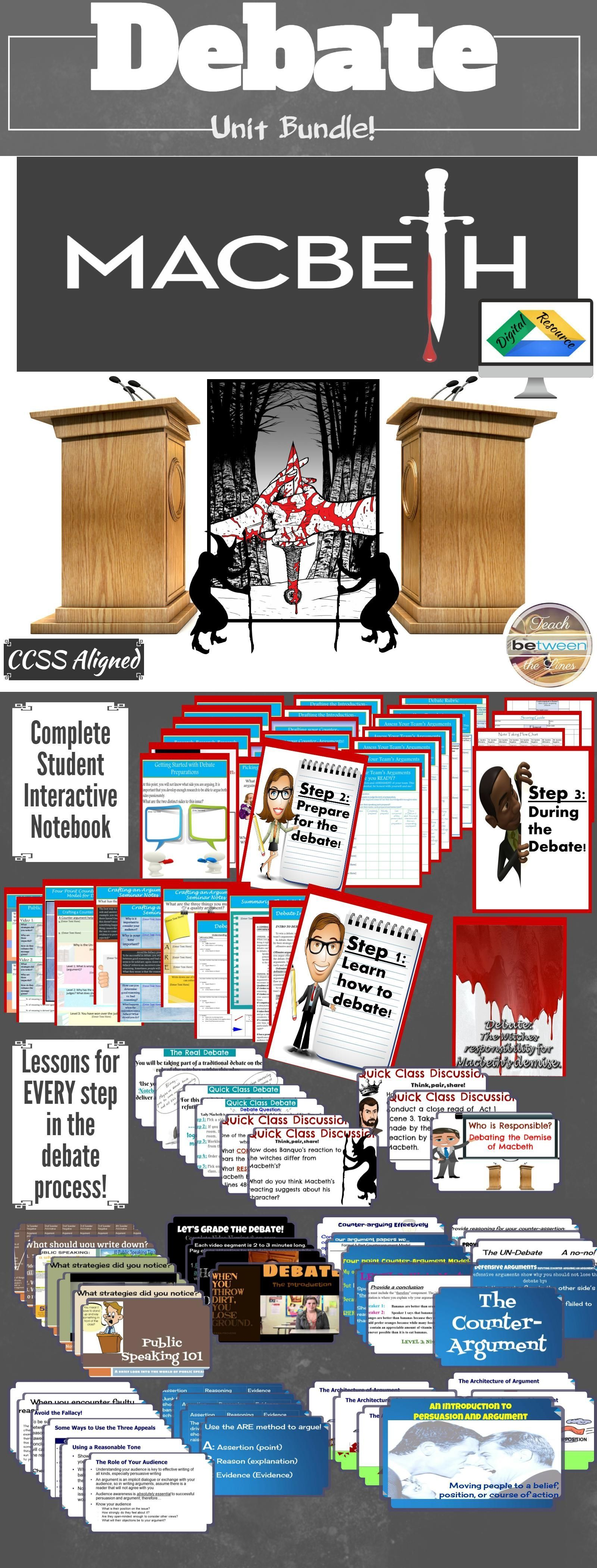Macbeth Debate Lessons Practice Graphic Organizers Digital And Printable