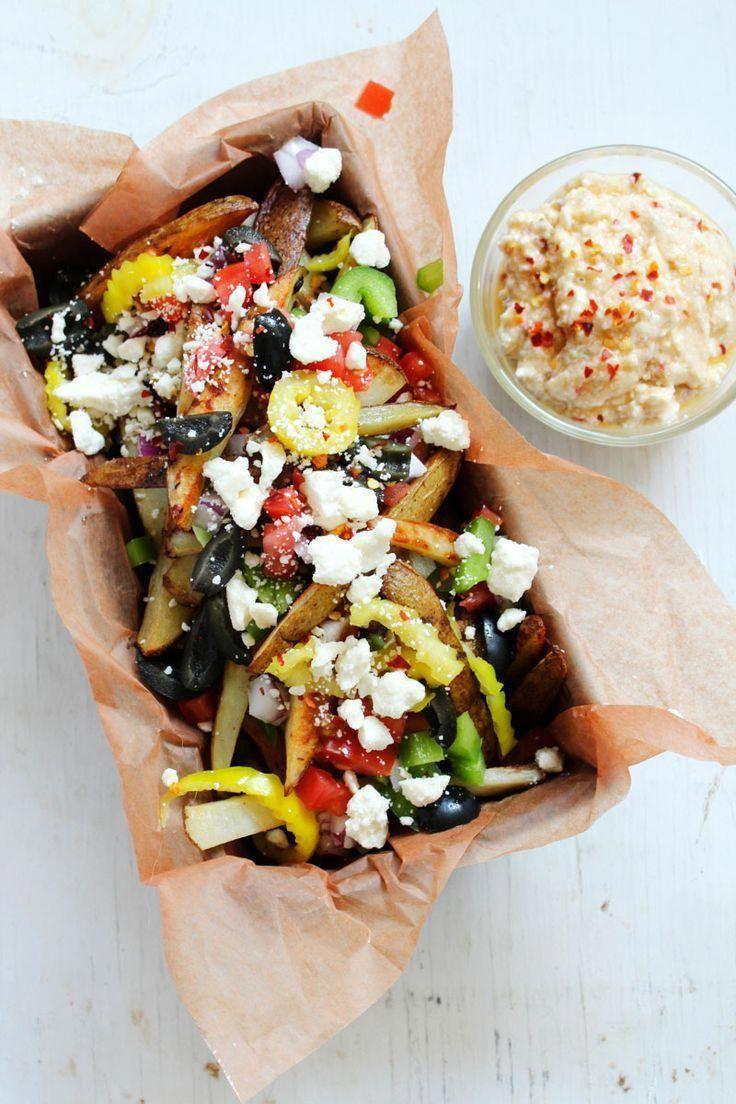Loaded Greek Street Fries with Zesty Feta Dip Appetizer | Crispy fries, salty feta, and Mediterranea...