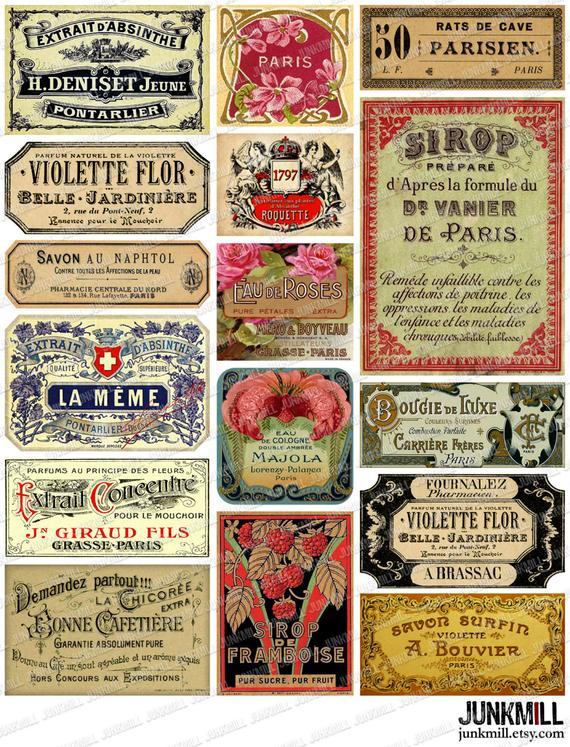 Parisian Labels Digital Printable Collage Sheet Vintage Etsy Printable Collage Sheet Perfume Label Vintage Labels Printables Free