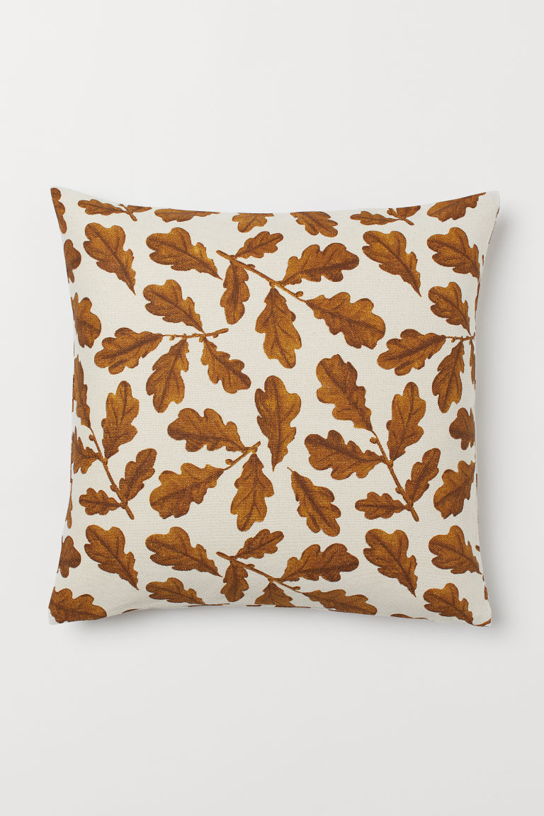 Kanvaasityynynpaallinen Vaaleanbeige Ruskea Home All H M Fi 1 Cushion Cover H M Organic Cotton Canvas