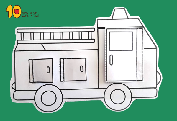 Fire Truck With Opening Doors Printable Fire truck craft