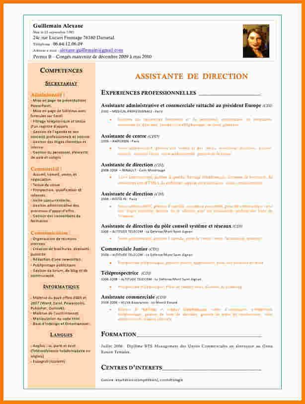 exemple de cv assistante administrative sur word