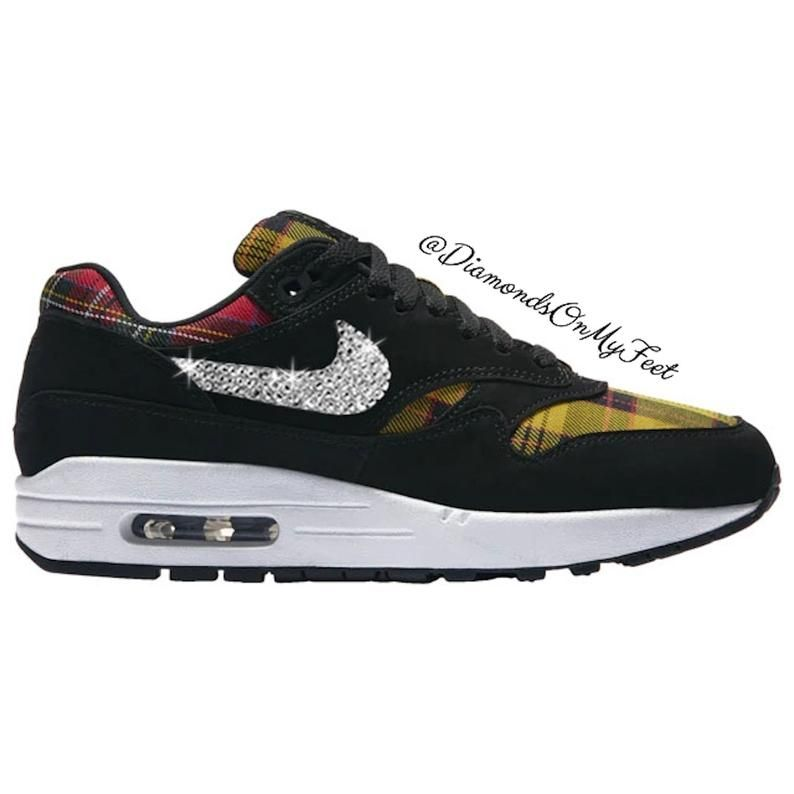 Swarovski Women's Nike Air Max 1 Black & Plaid Shoes
