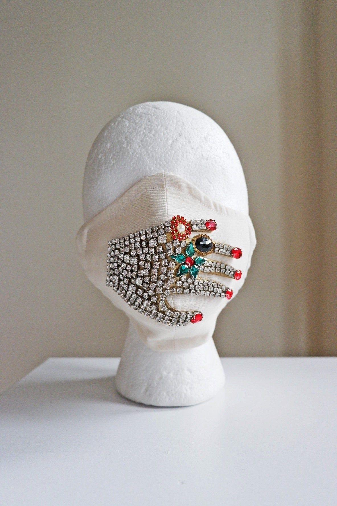 Off White Bedazzled Bling Face Mask/ Bridal Rhinestone