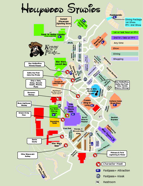 Hollywood Studios Map with Character Locations in 2019 | Disney\'s ...