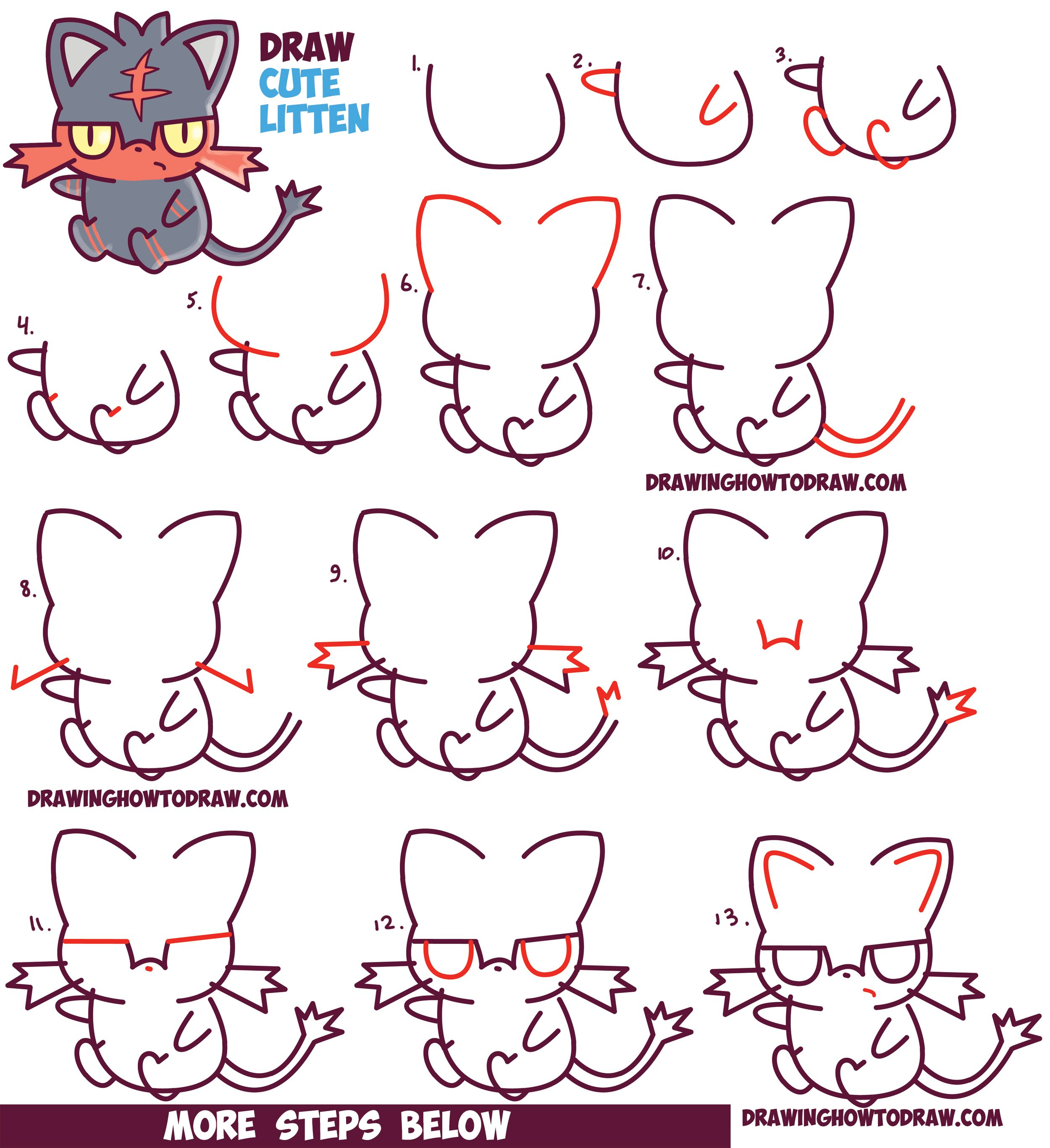 How to Draw Cute Litten Evolution from Pokemon Sun and Moon (Kawaii ...