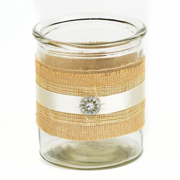Jeweled Burlap Candle Holder, 6.5 in. ($7.99) ❤ liked on Polyvore featuring home, home decor, candles & candleholders, burlap candle holders, jewel candle, jeweled candle, burlap candles and burlap home decor