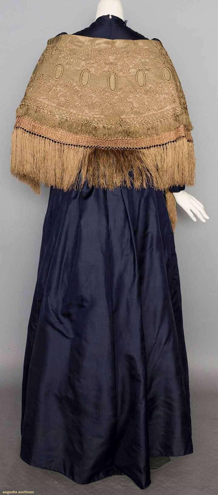 Navy silk day dress piece soft silk twill crossover bodice w