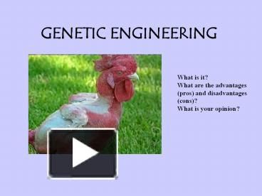 genetic engineering advantages disadvantages