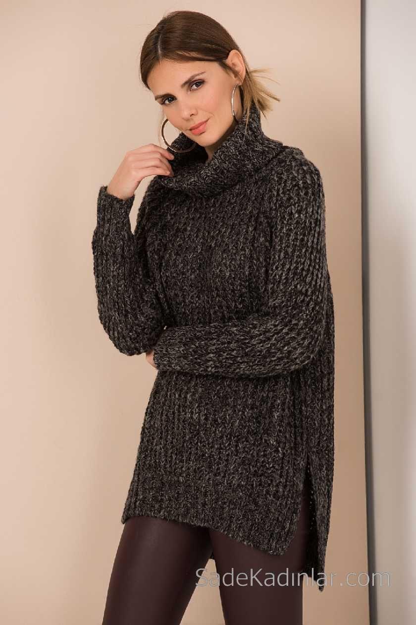 2021 Bayan Siyah Kazak Bogazli Yanlardan Yirtmacli Siyah Kazak Kiyafet Kazak Elbise
