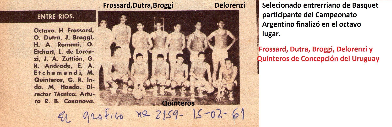 1961-Rocamora es base del seleccionado entrerriano de basquet:Frossar,Dutra,Broggi,Delorenzi y Quinteros