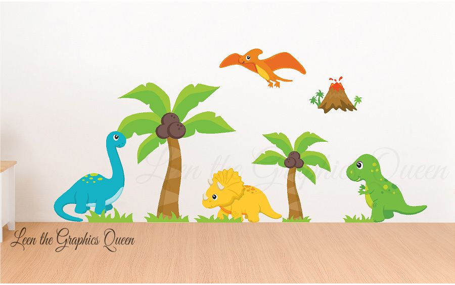 Reusable Dinosaur Scene Set Of Wall Decals Dinosaur Wall Decals
