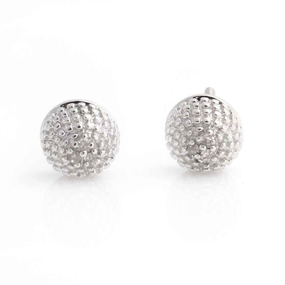 White Diamond Round Stud Earrings Sterling Silver 059T #AfinityJewelry #Stud