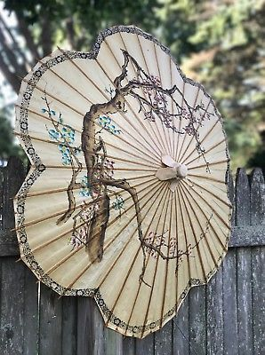 Vintage Asian Japanese Chinese Paper Rice Umbrella Parasol Bamboo Rising Sun !