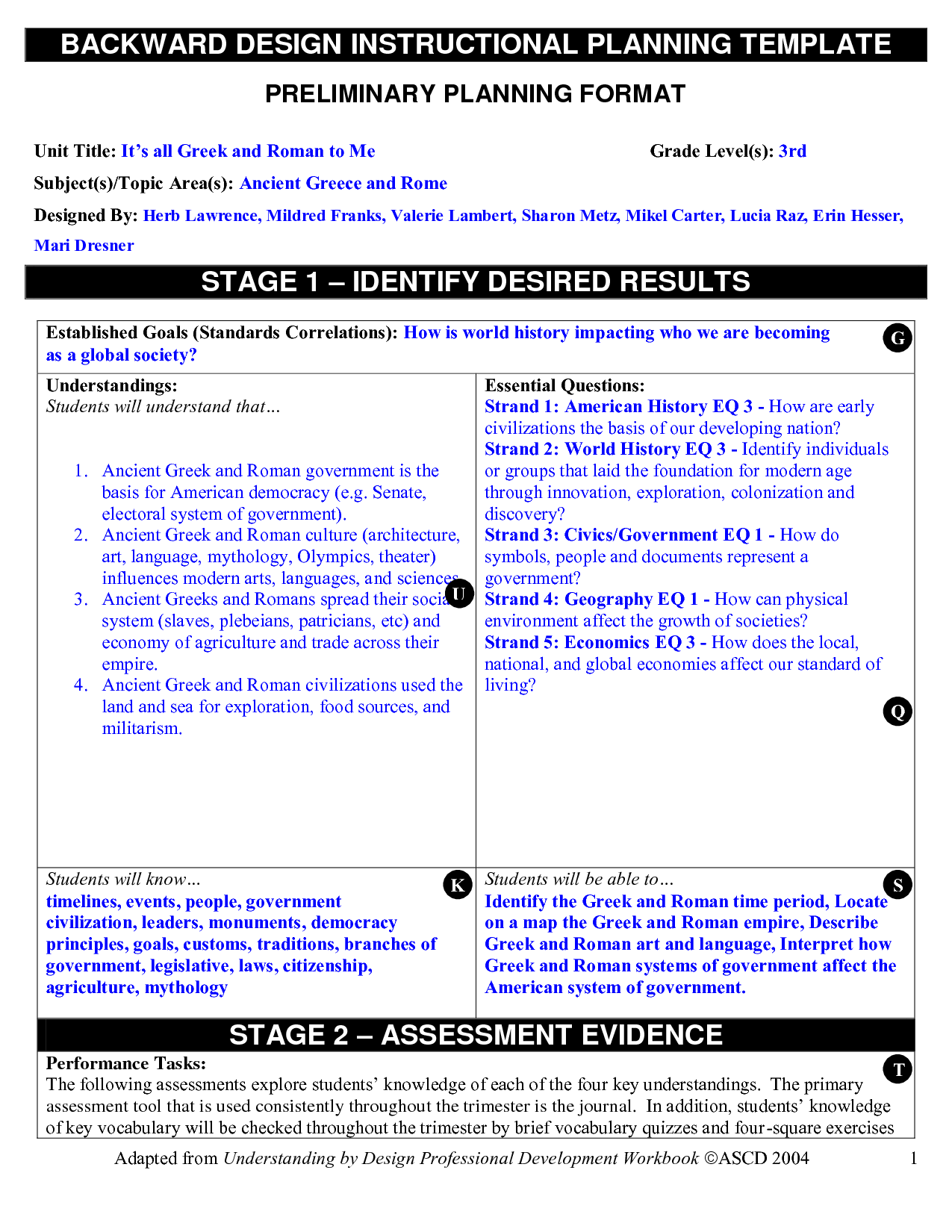 Backward Planning Template BACKWARD DESIGN INSTRUCTIONAL - Understanding by design lesson plan template