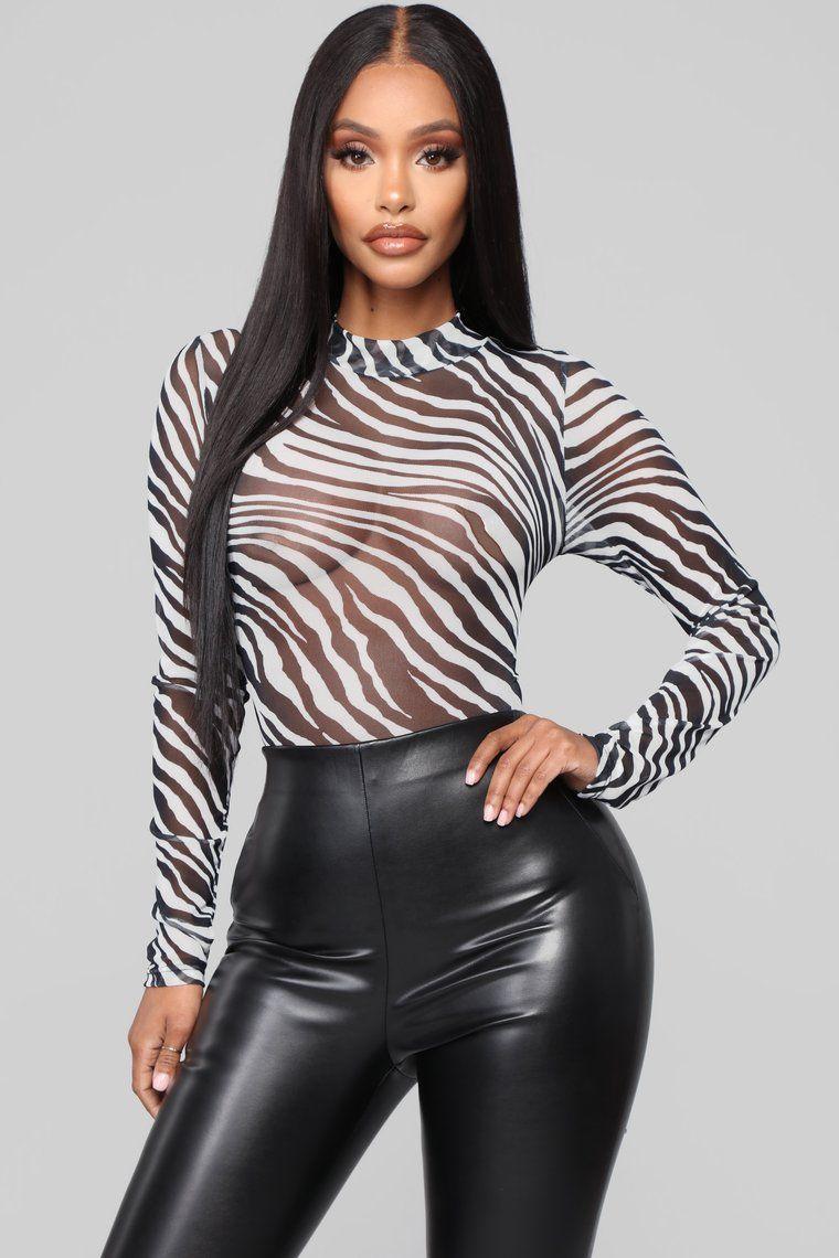 Zebra Mesh Bodysuit White/Black, 2020