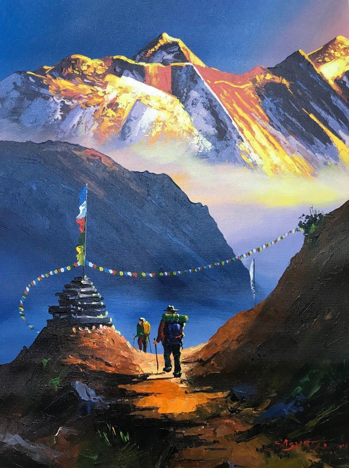Mount Everest South View Nepal Himalayas Original Painting